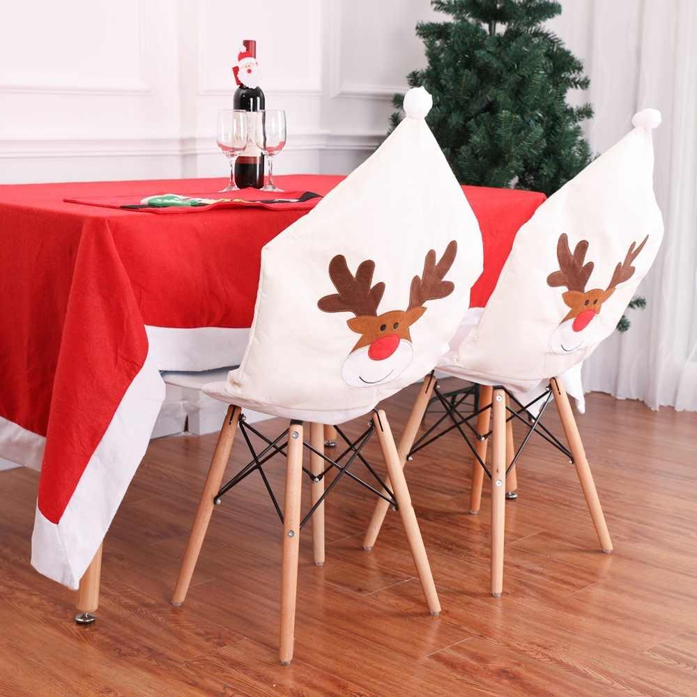 Jane YU Decorações de Natal Mesa de Natal Decoração de Natal Não-tecido, alce Bordado Cadeira Conjunto Branco 50x60 cm