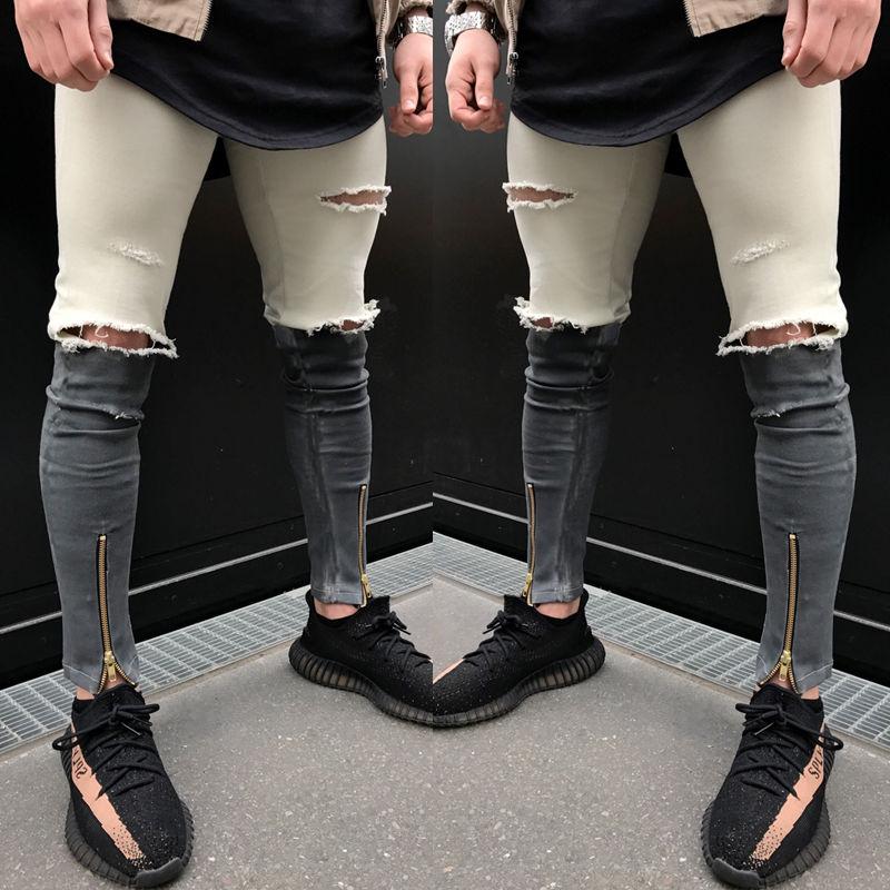 2018 New Fashion Design MENS pants biker DENIM Fashion ZIPPER SKINNY Fit Distressed Punk ripped jean
