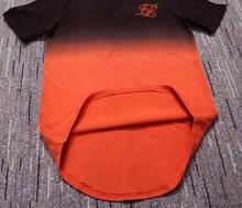 summer Cotton silk siksilk T shirt Gradient Printed T-shirts  Short Sleeves Hip Hop T-shirt shirts Tops Men Longline tees With