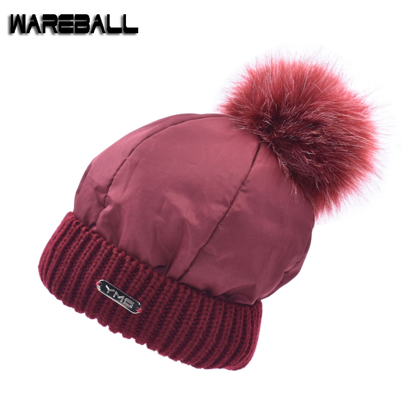 [WAREBALL]2017 New Brand Furtalk Hat Knitted Hat Women Winter Hat For Women Ladies Warm fox fur ball pom poms beanies 4pcs new for ball uff bes m18mg noc80b s04g