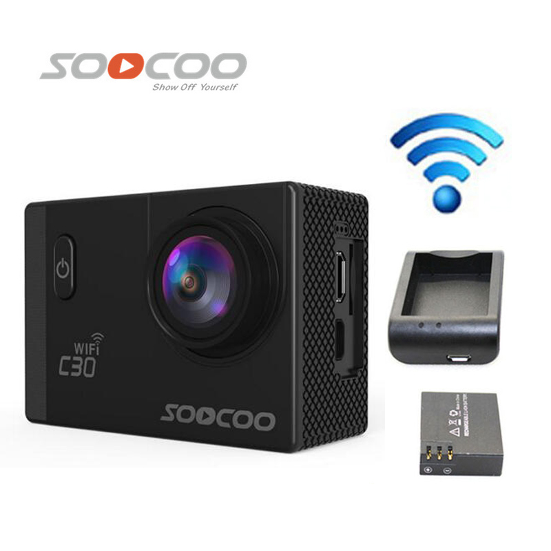 Free Shipping!!SOOCOO C30 Wifi 2K Gyro 2.0 LCD NTK96660 Diving 30M Waterproof Sport Camera +Extra 1pcs battery+Battery Charger стоимость
