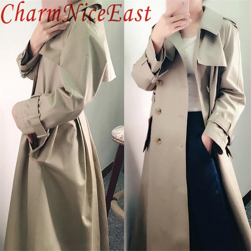 Fashion Khaki   Trench   2018 Spring Autumn Women Simple Classic   Trench   coat with belt Female windbreaker manteau femme