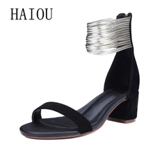 9a6ee83197fd HAIOU Brand 2017 Roman Sandals Sexy Shoes Black High Heels Sandals(China)
