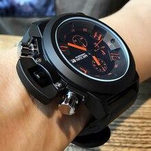 MEGIR Big Dial Fashion Men's Military Sports Watches Waterproof Silicone Strap C