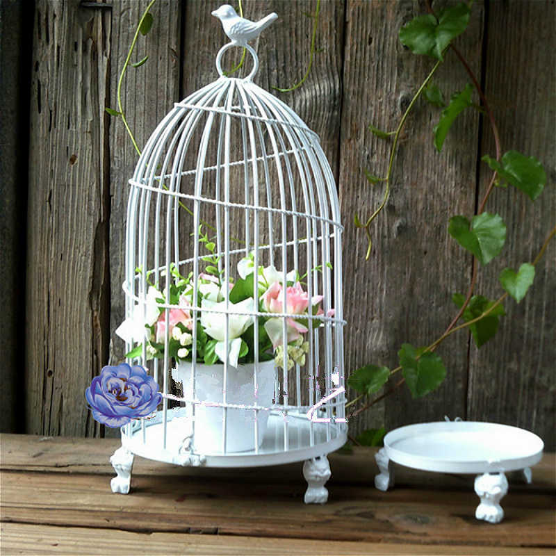 Iron bird cage European decorative desk flower rack decorative flower cage  bird house house outdoor hanging decoration