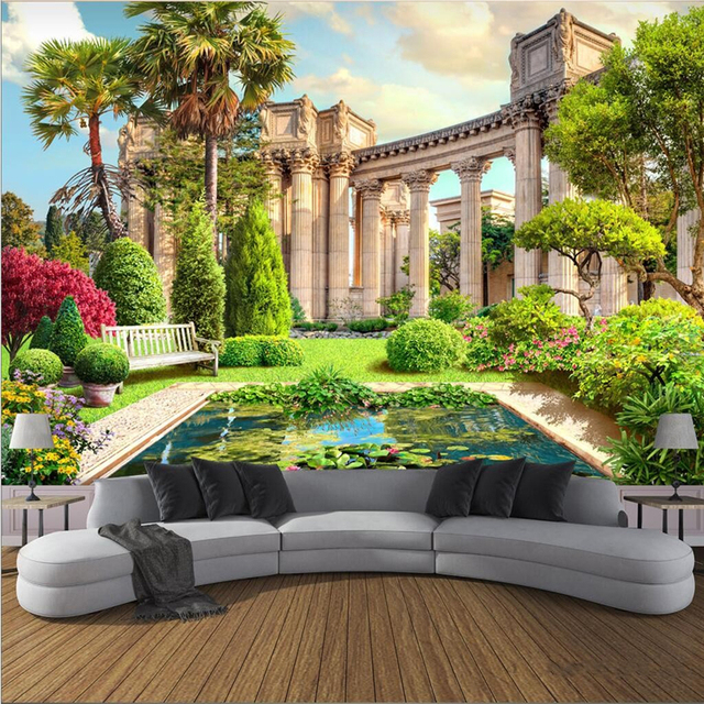 Beibehang 3D Fresco Custom Roman Column Garden Landscape 3d Background Wall  Papel De Parede Para Quarto