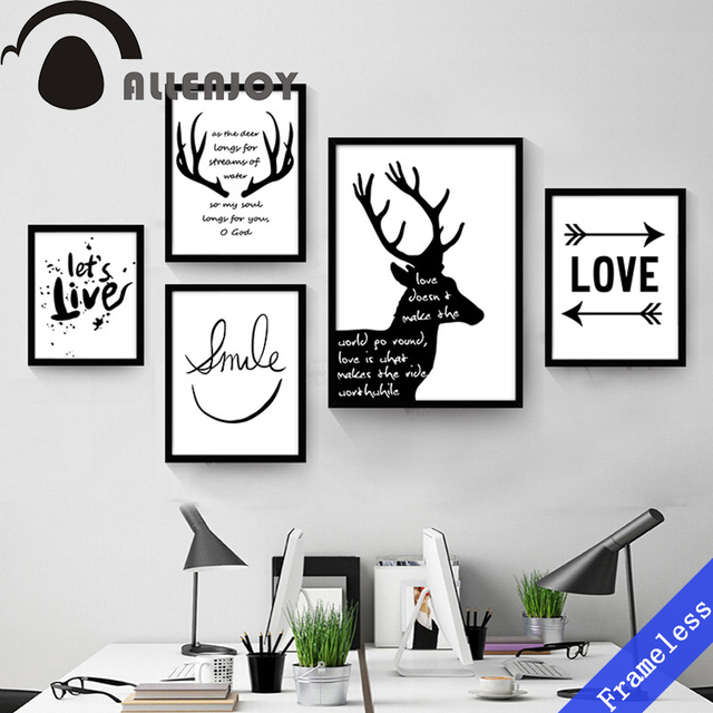 Abstract Simple English Black And White Mural Decoration Oil Paintings Art Canvas Wall Picture For Living