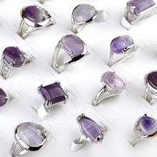 10Pcs Wholesale Lots Unisex Purple color Natural Stone Silver Plated Rings 16-20mm Mix size Geometric Heart Shape Charm Jewelry
