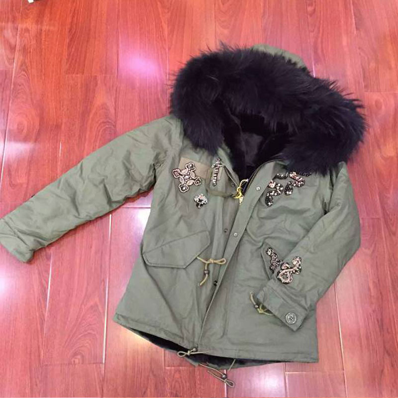 Fashion Winter Luxury Snake beading jacket with big raccoon collar faux fur lining woman coat