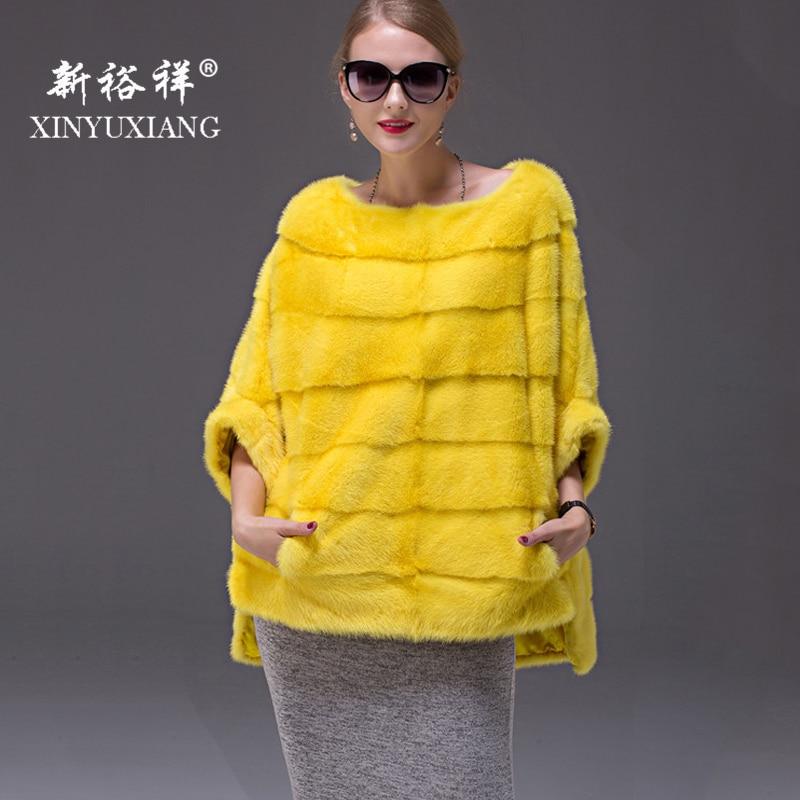 2018 Full Pelt Real Mink Fur Coats Women Fashion oversized Bat Sleeved coat female Autumn Winter Natural Genuine Leather coats