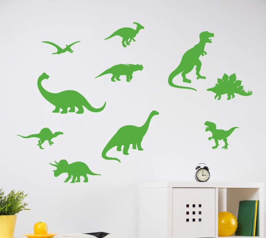 Dinosaur Wall Decal Dinosaur Patter Bathroom Decals Boy Bedroom Wall Decor Sticker 10 Set Kids Room Mural Y0 74 in Wall Stickers from Home Garden