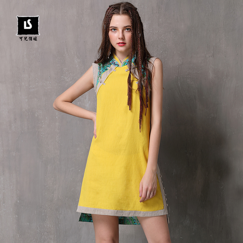 Brand Women s Dress 2019 Summer New Style Buckle Stitching Cheongsam Retro Cotton and linen Loose