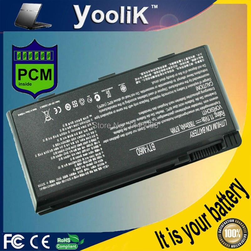 Laptopová baterie 7800MAH pro BTY-M6D E6603 GT60 GT660 GT670 GT70 GT780 GX60 GX660 GX780 GX680 GX660R Řada GT663