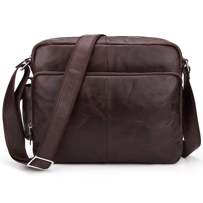 Genuine Leather business men Shoulder Crossbody Bags Fashion Casual men's bags large capacity Pure color Mens Shoulder Bags