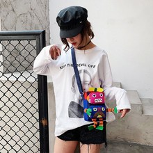 Fashion women bag Novel Cartoon Robot Modeling Messenger Bag Cute Canvas Womens