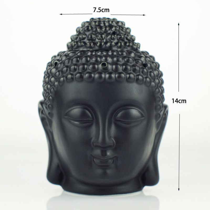 Oil Furnace Aromatherapy Oil Burner Buddha Head Aroma Oil Station Ceramic Temple India Incense Black White Buddha Incense W $