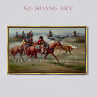 RestorinAmerica West Cowboy horse racing oil painting 3d art metal home goods horse oil painting Decorating the hall hotel club