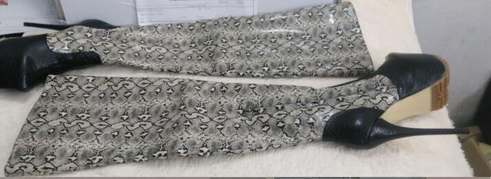 US $114.59 50% OFF|Pythondruck Leder Plattform Bottine Größe 43 Fetisch Schuhe Frau 16 CM High Heels Botas Über Knie schenkel hohe Stiletto stiefel in
