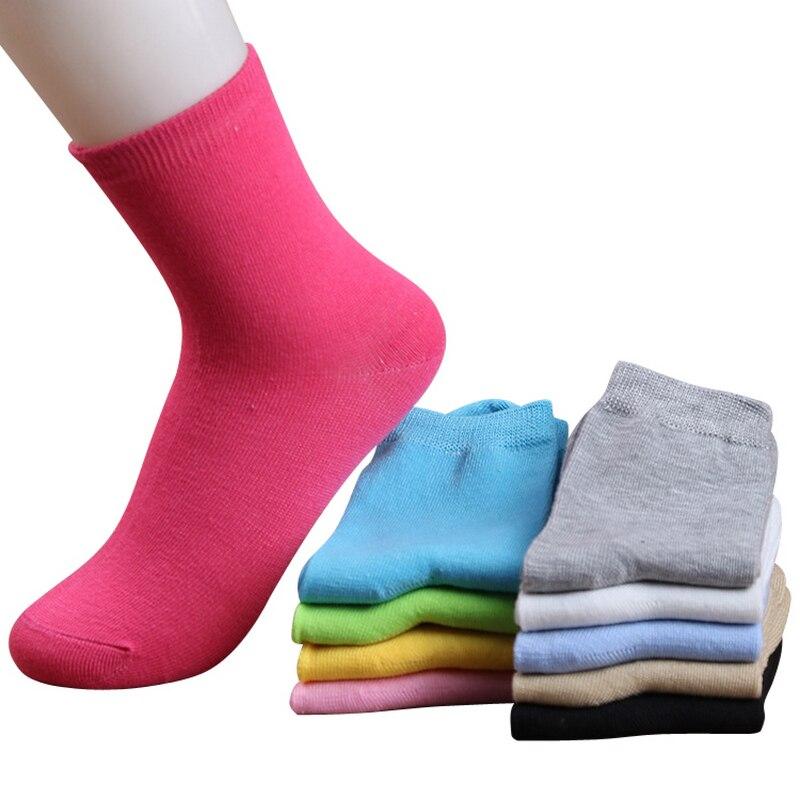 Mulheres outono inverno moda doce cor meias de algodao para a mulher bonito cor solida meias curtas 10 pares/lote