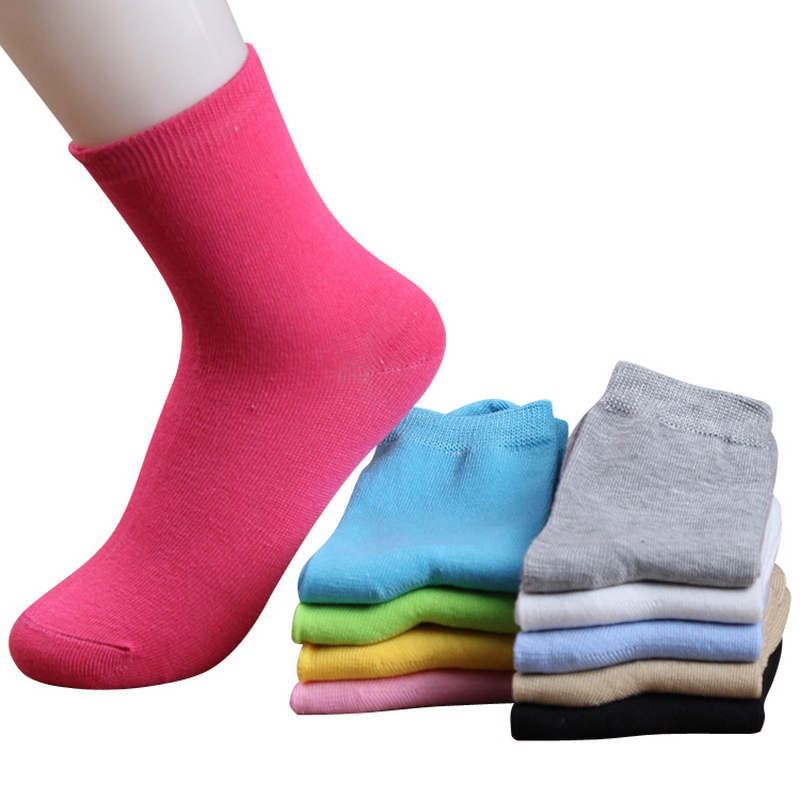 ženske jesensko zima modne bombažne barve bombažne nogavice za ženske luštne polne barve kratke nogavice 10 parov / lot