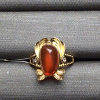 Fine Jewelry Customized Size Real 18K Yellow Gold AU750 Love 100% Natural Fire Opal Gemstone Female Rings for Women Fine Ring