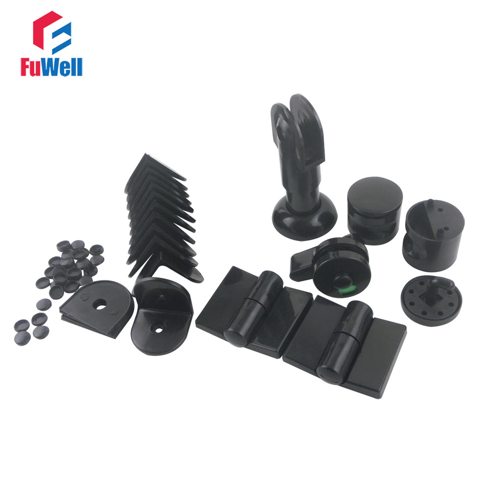 Black Public Toilet Accessories One Set for WC Partition цены