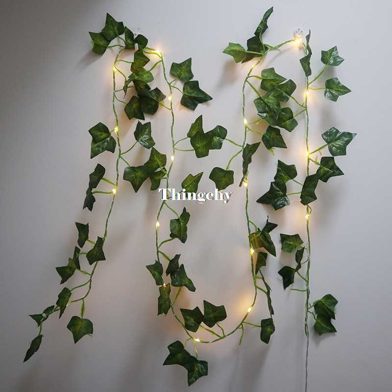 Ivy Leaf Garland Fairy Lights 2m Ivy Leaves Fairy Led String Lights Garland Wedding Home Decoration Mini Led Copper Lights Aliexpress