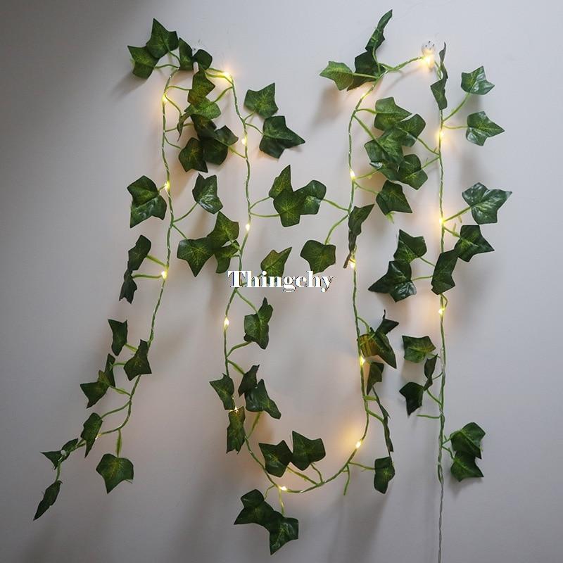 Ivy Leaf Garland Fairy Lights 2m, Ivy Leaves Fairy Led String Lights,garland Wedding Home Decoration, Mini Led Copper Lights
