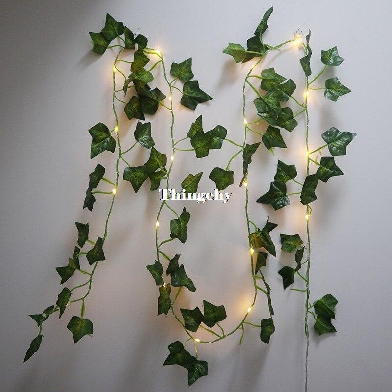 ivy folha garland luzes de fadas 2 m folhas de hera de fadas levou luzes da