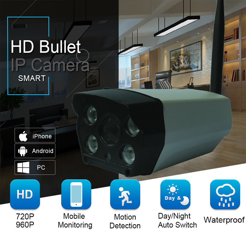 HD IP Camera 720p Wireless Bullet Camera WIFI Onvif P2P Waterproof Outdoor Security CCTV IP Cam Support 64G SD Card