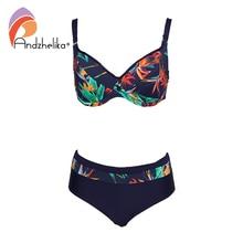 Andzhelika seksowny nadruk Bikini Plus Size kobiety strój kąpielowy fiszbiny G kubki Bikini Set stroje kąpielowe kostiumy kąpielowe Monokin