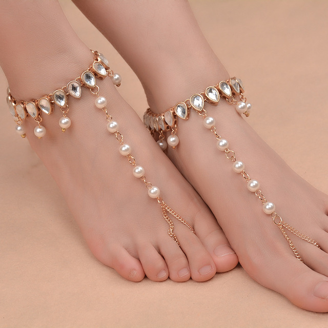 ecad3a42339 1 Pc Pearl Beads Barefoot Sandals High Quality Beaded Anklets Foot Jewelry  For Beach Wedding Gift Homewear Yoga