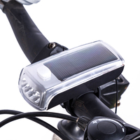 Liplasting Waterproof Cycling Light Solar Powered Bike Front Light 4 LED Mountain Bicycle Solar Headlamp USB