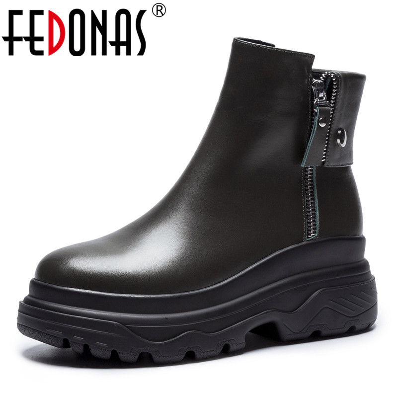 FEDONAS Punk Black Women Ankle Boots Wedges Heels Platforms Martin Shoes Woman Sexy Night Club Party Boots Ladies Short Shoes 2017the mostfashion trends european and american brands genuine flowers ladies luxury short shoes club sexy women s shoes
