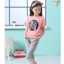 2016 marque filles d'été imprimer Sport Shirts Top + costume pantalon vêtements ensemble filles de l'école Casual lettre Set vêtements Hot vente