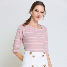 Pink Striped T-shirt Women Knitted Top Half Sleeve Irregular Oblique Collar Kawaii Streetwear Ulzzang Vintage Haut Femme недорого