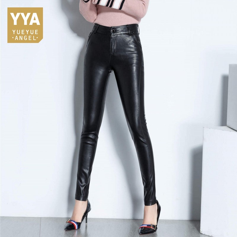 2019 Office Lady Sheepskin Real Leather Trousers Fleece Lining Slim High Waist Full Length Streetwear Zipper
