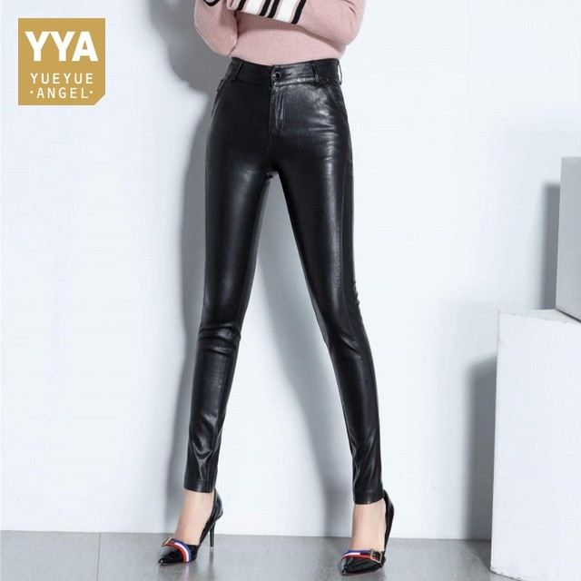 2018 Office Lady Sheepskin Real Leather Trousers Fleece Lining Slim High Waist Full Length Streetwear Zipper Woman Pencil Pants