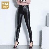 2018 Office Lady Sheepskin Real Leather Trousers Fleece Lining Slim High Waist Full Length Streetwear Zipper Woman Pencil Pants