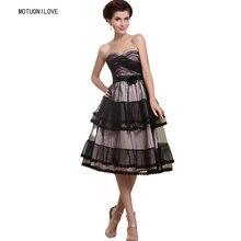 Женское винтажное платье до середины икры Черное короткое вечернее