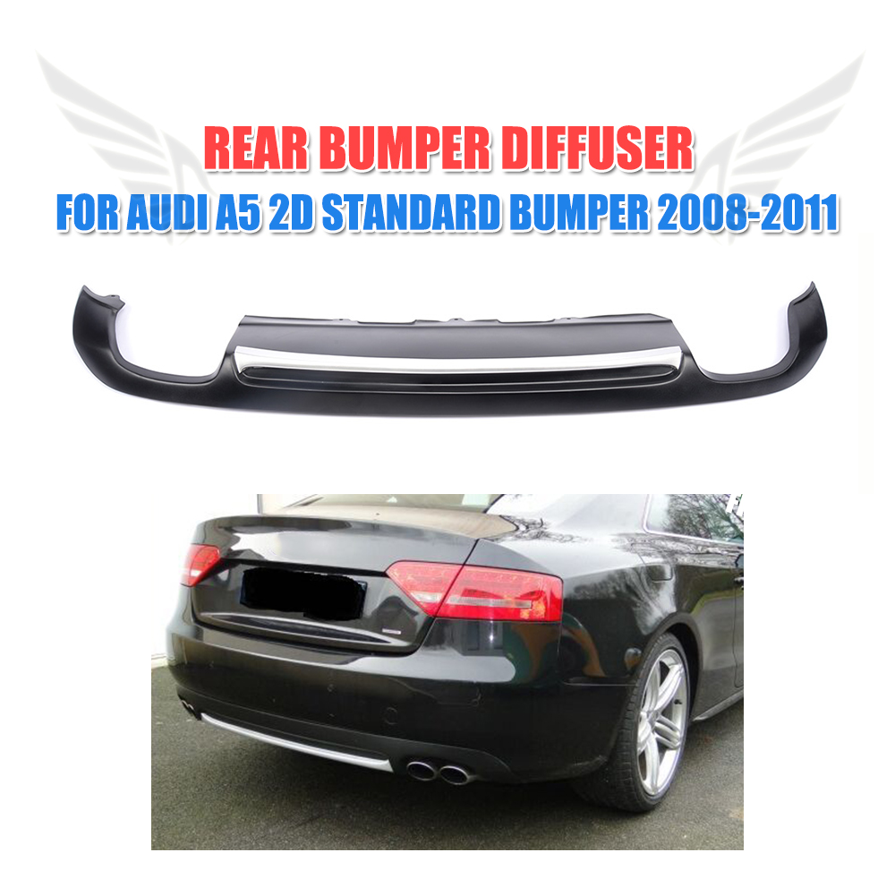 PU Black Painted Rear Bumper Diffuser Silver Strip Spoiler Lip Fit For Audi A5 Coupe Standard Only 2008-2011 Non-Sline