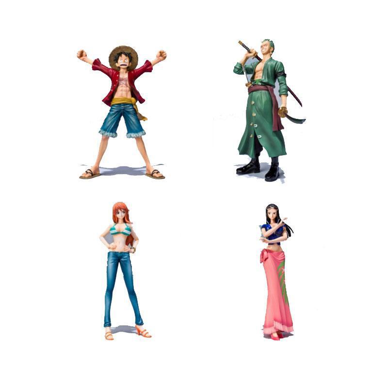 One Piece PVC Action Figure Toys Without Box 16cm Luffy Zoro Robin Nami PVC Figure Toy Dolls Model For Gifts  F0532 brand new portrait of pirates one piece roronoa zoro 23cm pvc cool cartoon action figure model toy for gift kids free shipping