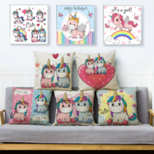 Cubierta de cojín estampada con unicornios Super bonitos de dibujos animados, 45x45cm, fundas de lino para almohadas Beige, funda de almohada decorativa para sofá, Fundas de almohadas