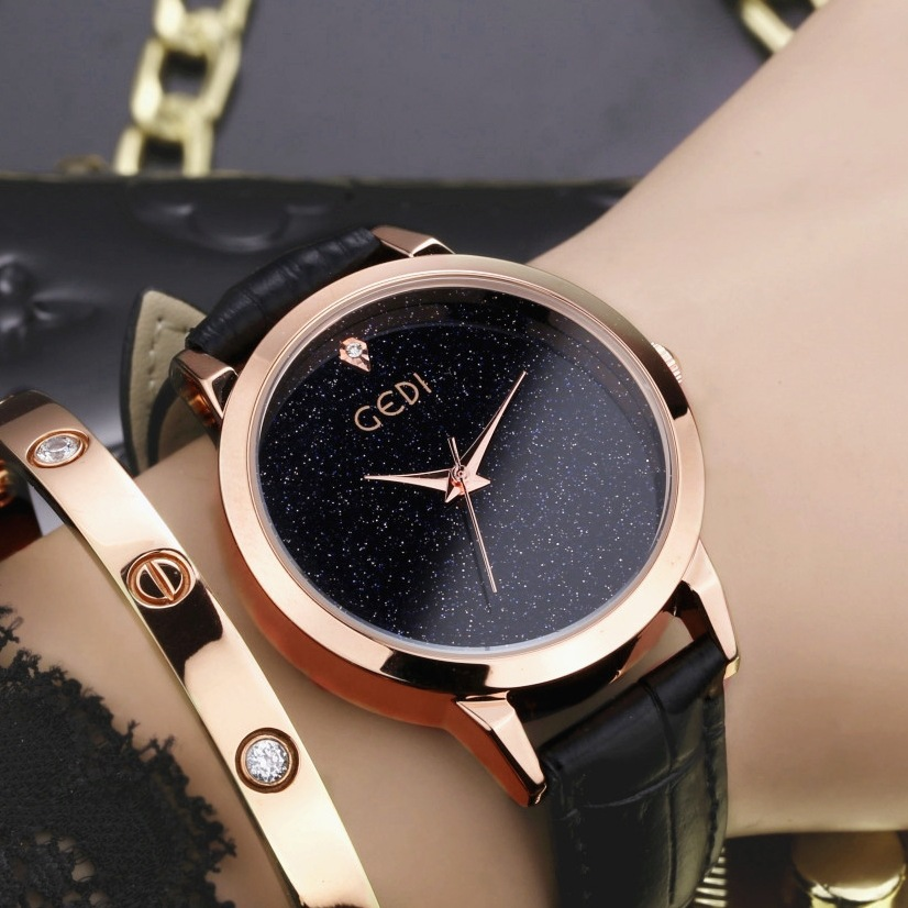 Starry Sky Top Brand Luxury Women Watches Gold Rose Genuine Leather Quartz Watch Ladies Fashion Rhinestone Wristwatch Waterproof