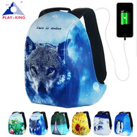 Man Anti Theft Backpack For Laptop With USB Charger Printing Backpack For Girls Teenagers Schoolbag Male