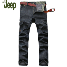 2017 Winter Fashion Men s Cashmere Jeans AFS Jeep Youth Multi pocket High quality Straight New