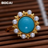 S925 sterling silver jewelry in natural pearl rose flower female ring ring open national wind