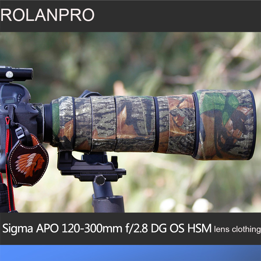 ROLANPRO Lens Camouflage Rain Cover for Sigma APO 120-300mm f/2.8 DG OS HSM Lens Protective Case Guns Clothing SLR Cotton new sigma af 50 500mm f 4 5 6 3 dg os hsm apo lens for nikon