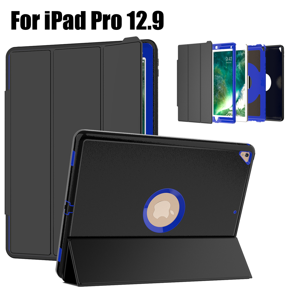 For iPad Pro 12.9 Heavy Duty Shockproof Hybrid Rubber Rugged Hard Impact Protective Case Cover protective shell for apple ipad pro 12 9 inch case amor shockproof heavy duty rubber hard hybrid cover stand case cover
