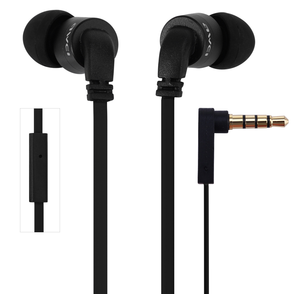 Awei ES - 13i Noise Isolation In-Ear Earbud On-Cord Control 3.5mm Earphone With 1.2m Cable Mic For Smartphone Tablet PC awei es10 noise isolation in ear earphones black